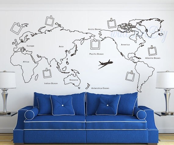 world map wall decal map wall sticker travel map wall decals. Black Bedroom Furniture Sets. Home Design Ideas