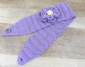 Crochet HEADBAND Ear Warmer FLOWER PURPLE
