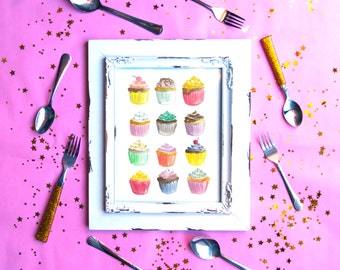 Cupcakes Watercolor Print (8.5 x 11)