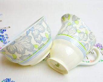 1930s hand painted china milk and sugar bowl by royal doulton