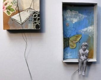 """Art box:Diorama original à accrocher.""""Lison"""".Petite fille en équilibre.Série """"Les funambules""""."""