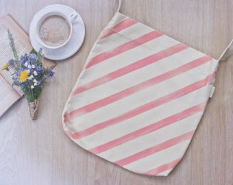 Eco Friendly Grocery bag, 100% handmade, pink stripe pattern