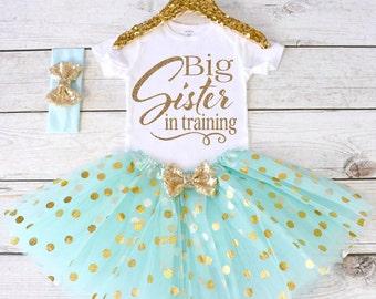 Big Sister in training. Pregnancy Announcement Shirt. Big Sister Announcement Shirt. Promoted to Big. Big Sister Outfit. S21 PGA (AQUA)