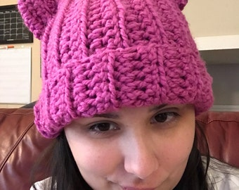Crochet Pussy Hat / Kitty Hat / Cat Hat / crochet kitty hat / teen kitty hat / child kitty hat  / adult kitty hat / Read Full Description