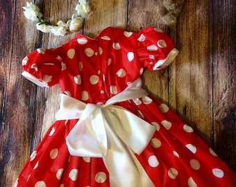Size 5 dress polka dot red white