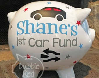 First Car Fund Piggy Bank, 1st Car Fund, Personalized Piggy Bank, Customized Piggy Bank, New Car Fund