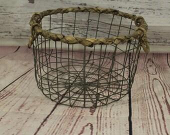 wicker and wire basket/ newborn props, newborn basket photo