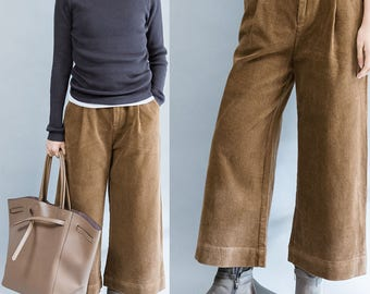 women trousers/women leisure pants/women brown corduroy pants/women comfortable trousers/BJPNOV08811
