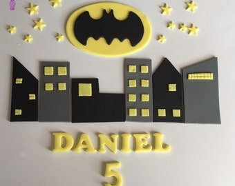 Batman Buildings Stars Personalised Edible Cake Topper Sugar Fondant Decoration