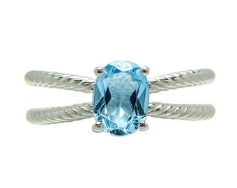 Sterling Silver Blue Topaz Criss Cross Rope Ring