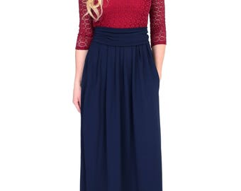 Burgundy Top Lace Navy Blue Maxi Dress 3/4 Sleeves