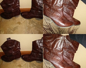 Clearance !!1970s Zodiac 9m brown leather boots