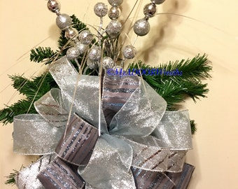 Grey Silver Blue Tree Topper Bow, Christmas Whimsical Tree Bow, Silver Blue Tree Topper Bow, Elegant Ice Blue Silver Tree Decor, Winter Bow