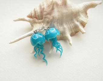 jellyfish blue earrings polymer clay jewelry exclusive jewelry gift for her Marine style holiday jewelry jelly fish gift 20 nautical style