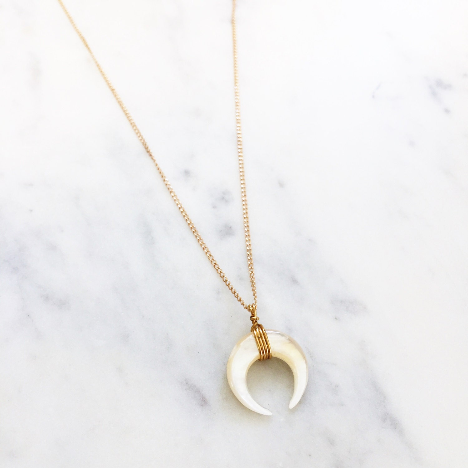 The PEARL Moon baby / Crescent Moon / tusk / half moon / horn / Moon Necklace / Crescent Moon Necklace / Half Moon Necklace /