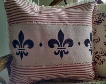 """Shabby Country French 16""""x16"""" Fleur de Lis Red Mattress Ticking Pillow Cover"""