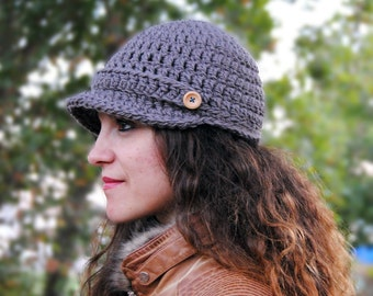 Newsboy womens hat, winter hat with brim, crochet beanie with visor, winter fashion accessories MP020