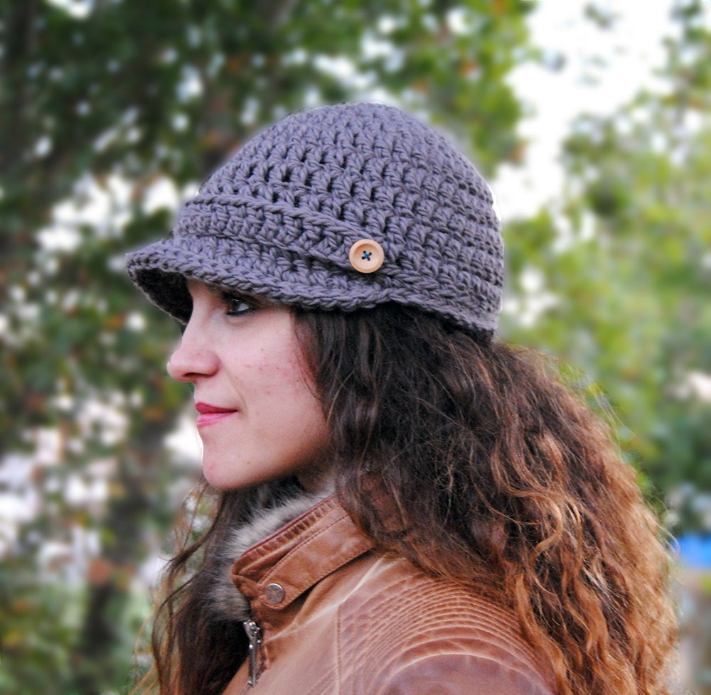 Newsboy womens hat winter hat with brim crochet beanie with