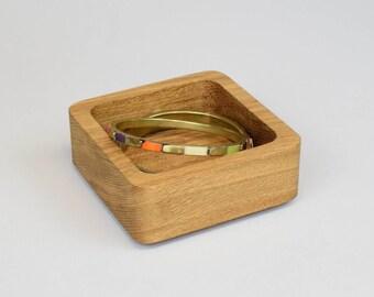 Wooden Coin Tray, Wooden Desk Tidy, Trinket Dish, Jewellery Storage, Desk Organisation, Key Tray, Stackable Oak Organiser, Office Desk Decor