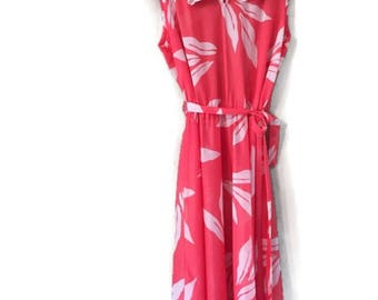 Collared Vintage Kevin Stuart Petites Coral Tie Waist Floral Dress size Small Summer Day Dress