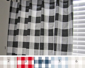 Buffalo Check Curtain Panels, Black, Ecru, Red, Navy, Light Blue,