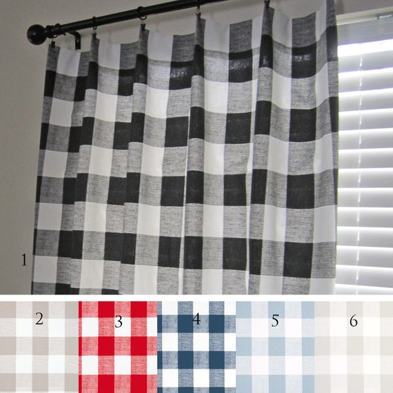Buffalo Check Curtain Panels Black Ecru Red Navy Light