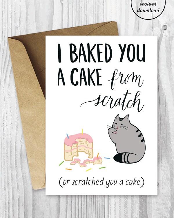 Birthday Card Downloads Funny Cat Birthday Cards Printable – Birthday Card Downloads