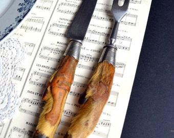 French Antique Taxidermy Deer Hoof Handle Carving Set Carving Knife & Fork Hooves