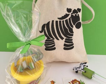 Safari Party Favor: Safari Favor Bag filled with Play Doh and Elephant Cutter, Safari Animal Bubble Wand and tattoos