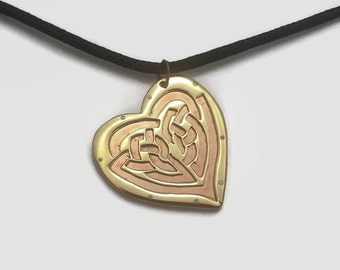 Love Knot Pendant Necklace in Brass & Copper on Black Cord Choker - A heart shaped celtic knot, the perfect romantic gift