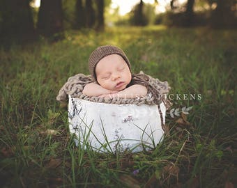 39 COLORS Grey Knit Newborn Bonnet, Newborn Hat, Newborn Knit, Hat, Newborn Knit Bonnet, Photo Prop