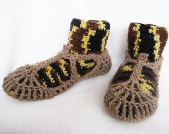 Men's Wool Slippers, Men's Crochet Shoes, House Warm Shoes, Warm Winter Slippers, Winter Man Slippers, Gift for husband, Gift for Him