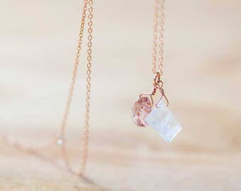 Moonstone & Sunstone Pendant on Rose Gold Filled or Sterling Silver Chain, Sunstone Necklace, Moonstone Jewelry, Delicate Everyday Layering