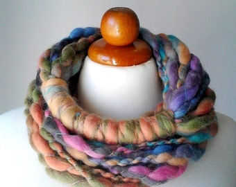 Knit necklace yarn necklace fiber art jewelry chunky long necklace statement necklace wool necklace big bold necklace multicolor purple pink