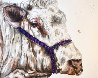 Large original British Blue bull painting