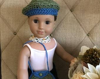 "Bohemian Doll Clothes - Handmade Outfit Gift Set for 18"" American Girl Doll - 3 pieces: Beret Hat, Purse and Necklace - Item D2"