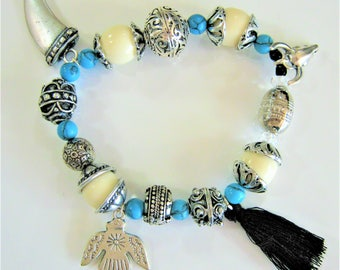 Elastic bracelet silver turquoise beads, Horn, head of Buffalo, black Pompom, ethnic Eagle and tooth shark/mother's day charms