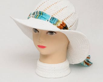 gift for Womens Gift Ideas White Crochet Hat Summer hat Sun Hat Wide Brim Hat Beach Hat Womens Hats With Ribbon Women Sun Hat Wide Brim Hat