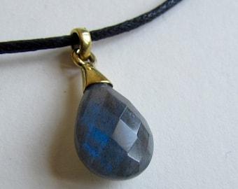 Labrodite Gemstone on Wax Cord  Teardrop Shape Faceted Pendant LB1 Adjustable Unisex Free UK Shipping + Gift Bag BP17