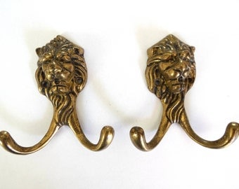 Lion Wall hooks, Set of 2 Brass Lion Head Coat hook, Wall hooks, Solid Brass. #64CG163K3