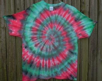 Red & Green Spiral Tie Dye T-Shirt (XL)