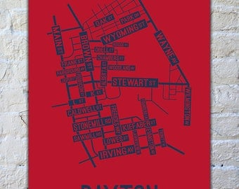 Dayton, Ohio Street Map Print