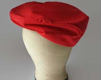 1970s Cabbie Hat/Red/Newsboy Hat/SMALL/MED/Mens Vintage Cap/Flat Cap/Golf Hat