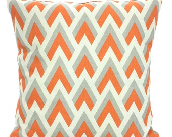 Orange Gray Chevron Pillow Covers, Decorative Throw Pillows Orange Grey Natural Cushions, Couch Pillows, Chevron One or More All Sizes