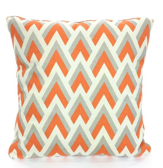 Orange And Gray Decorative Pillows : Orange Gray Chevron Pillow Covers Decorative Throw Pillows