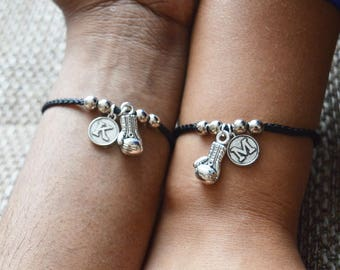 Personalized Couples Bracelet, His and Hers Bracelet Set, Boxing Glove Bracelet, black bracelet , Fitness Charm bracelet gift, Gym, sports