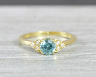 Zircon and diamond yellow gold engagement ring art deco 1920's inspired thin petite band 14k unique ring for her