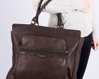 Vintage shopper for women - 70s / 80s bag - Tote - Brown - faux leather - spacious vintage bag - v. Harold's - hipster