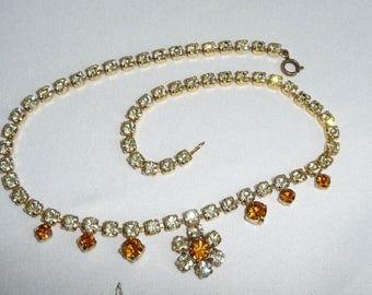 Vintage 1950's Two Colour Citrine Diamante Rhinestone Crystal Flower Drop Necklace - Bridal Accessory