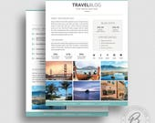 Blog Media Kit Template 09 - 3 Page Press Kit - Pitch Kit - Blog Media Kit Template for Word - Blog Media Kit for Photoshop - Travel Blogger